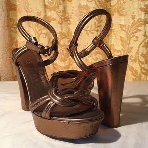 Gucci Gold Ankle Strap Sandal